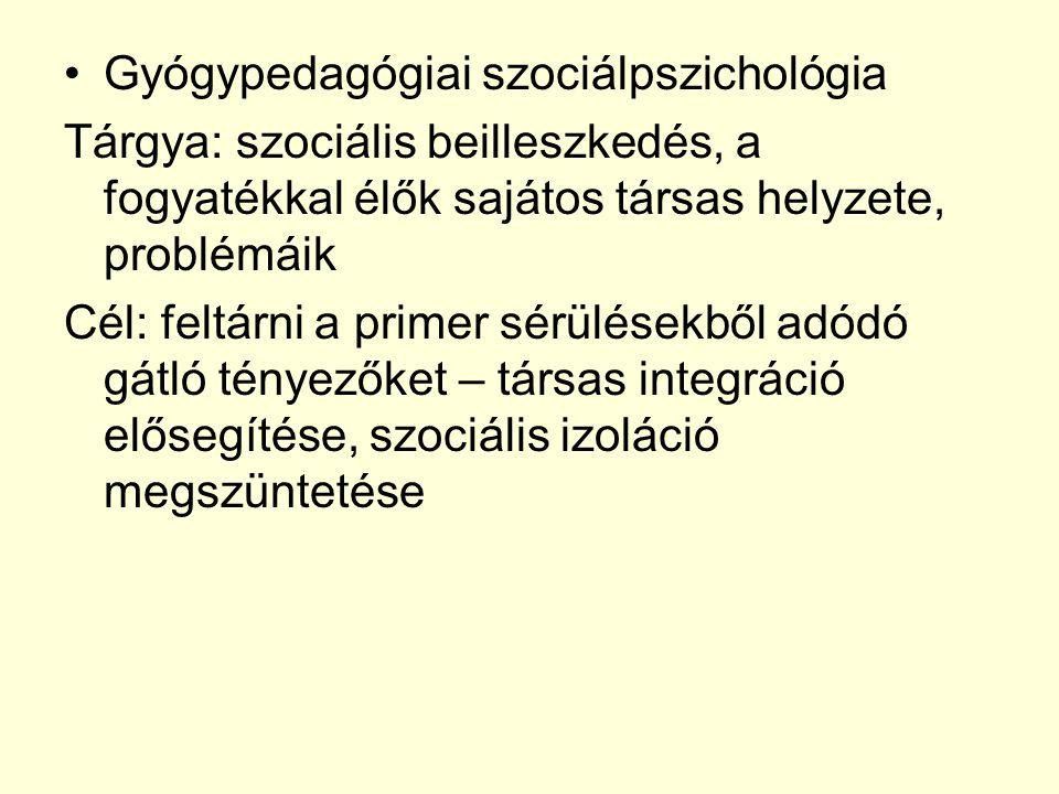 Gyógypedagógiai szociálpszichológia Tárgya: szociális beilleszkedés, a fogyatékkal élők sajátos társas helyzete, problémáik Cél: feltárni a primer sér