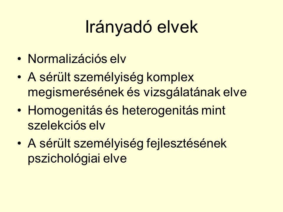 Irányadó elvek Normalizációs elv A sérült személyiség komplex megismerésének és vizsgálatának elve Homogenitás és heterogenitás mint szelekciós elv A