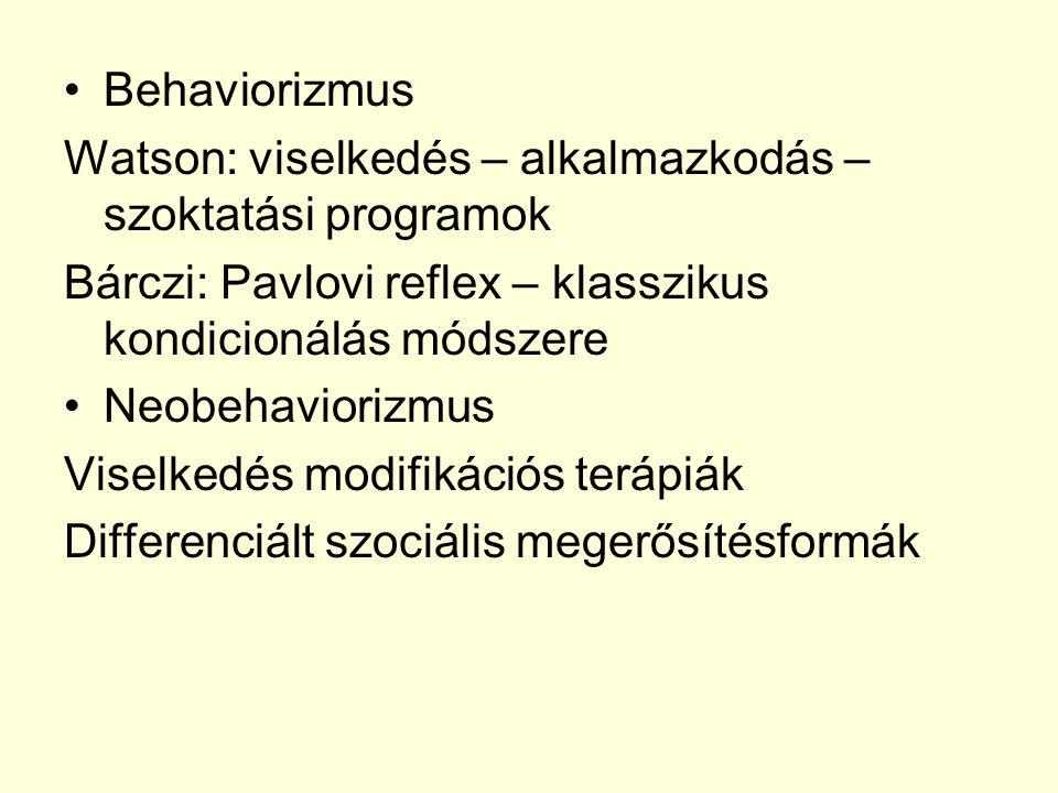 Behaviorizmus Watson: viselkedés – alkalmazkodás – szoktatási programok Bárczi: Pavlovi reflex – klasszikus kondicionálás módszere Neobehaviorizmus Vi