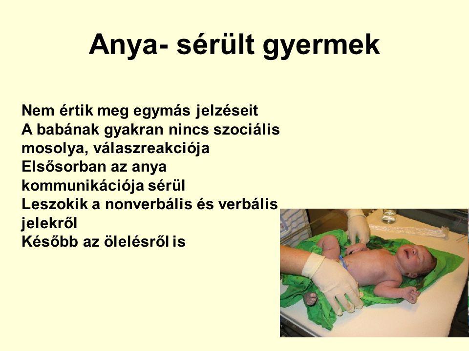 Anya- sérült gyermek Nem értik meg egymás jelzéseit A babának gyakran nincs szociális mosolya, válaszreakciója Elsősorban az anya kommunikációja sérül