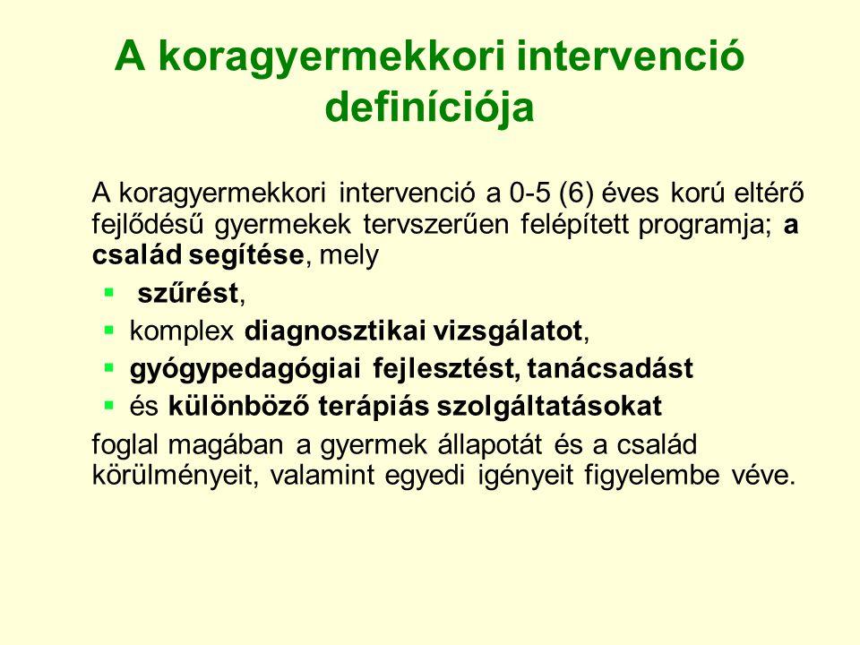 A koragyermekkori intervenció definíciója A koragyermekkori intervenció a 0-5 (6) éves korú eltérő fejlődésű gyermekek tervszerűen felépített programj