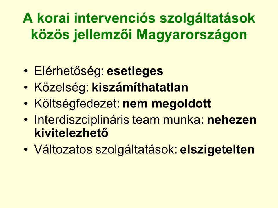 A korai intervenciós szolgáltatások közös jellemzői Magyarországon Elérhetőség: esetleges Közelség: kiszámíthatatlan Költségfedezet: nem megoldott Int