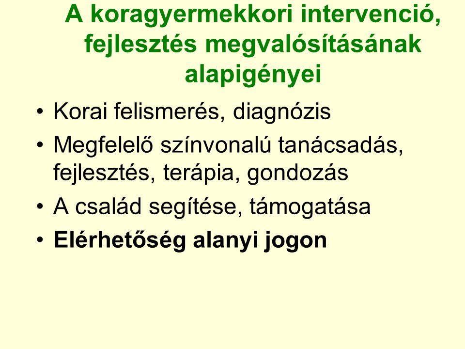A koragyermekkori intervenció, fejlesztés megvalósításának alapigényei Korai felismerés, diagnózis Megfelelő színvonalú tanácsadás, fejlesztés, terápi