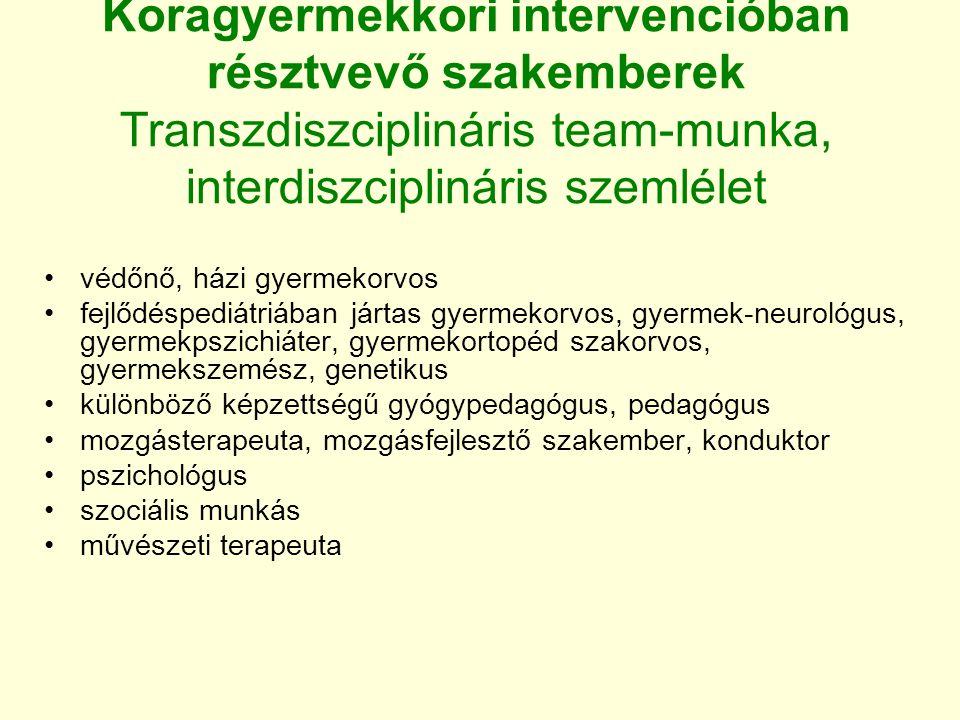 Koragyermekkori intervencióban résztvevő szakemberek Transzdiszciplináris team-munka, interdiszciplináris szemlélet védőnő, házi gyermekorvos fejlődés