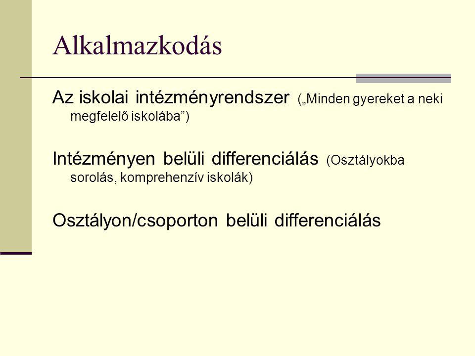 """Alkalmazkodás Az iskolai intézményrendszer (""""Minden gyereket a neki megfelelő iskolába ) Intézményen belüli differenciálás (Osztályokba sorolás, komprehenzív iskolák) Osztályon/csoporton belüli differenciálás"""
