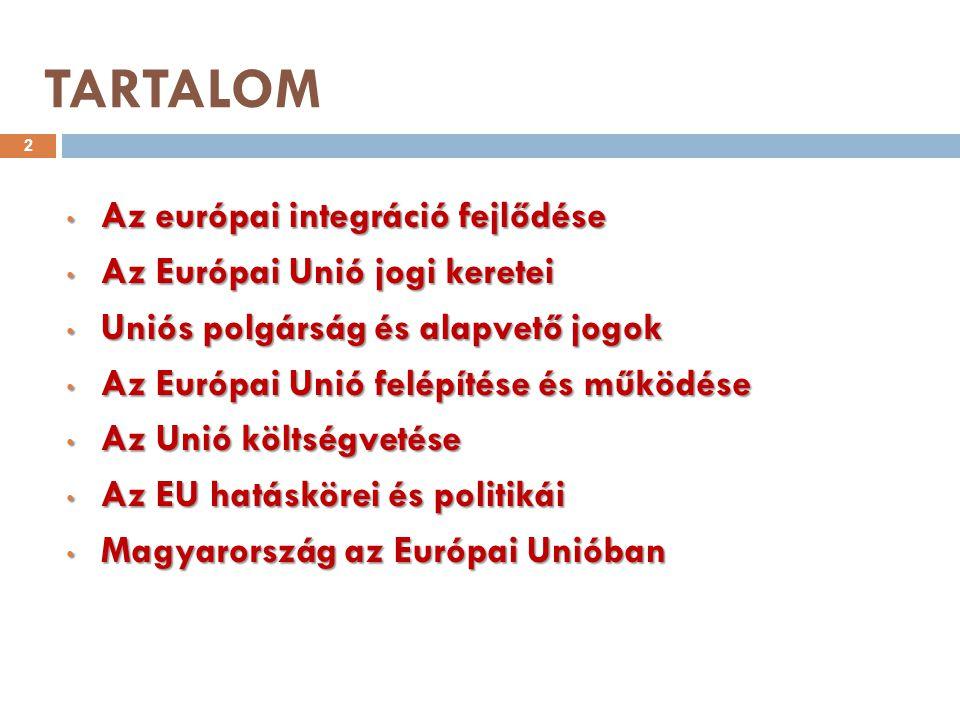 AZ EURÓPAI INTEGRÁCIÓ FEJLŐDÉSE 1. FEJEZET 3