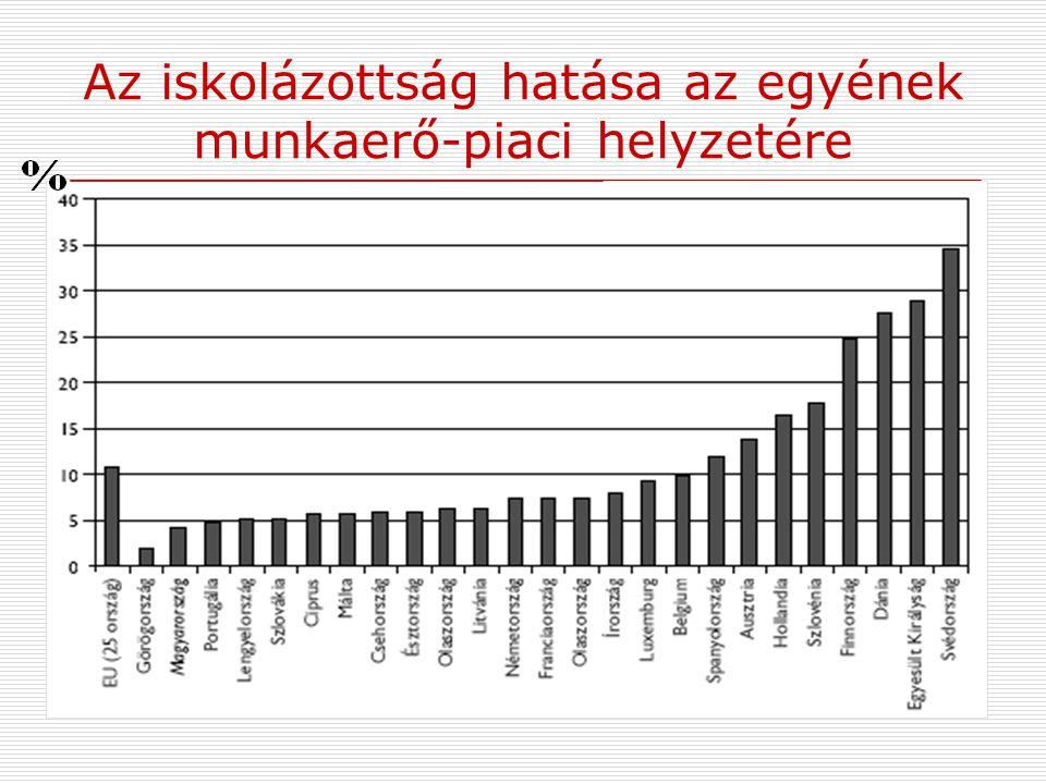 Az iskolázottság hatása az egyének munkaerő-piaci helyzetére  EU célja: a tagországokban 2010-re a 22 évesek legalább 85%-a rendelkezzen felső középf