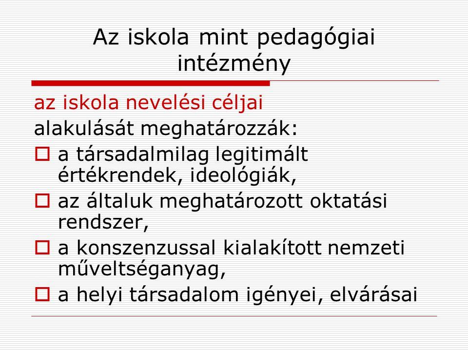Az iskola mint pedagógiai intézmény az iskola nevelési céljai alakulását meghatározzák:  a társadalmilag legitimált értékrendek, ideológiák,  az ált