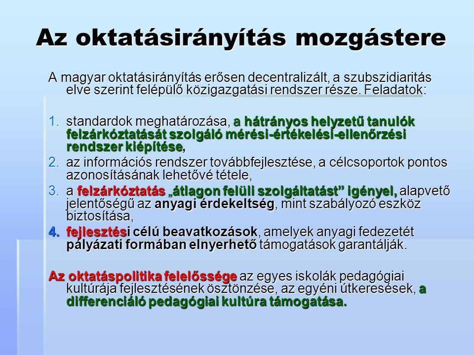 Az oktatásirányítás mozgástere A magyar oktatásirányítás erősen decentralizált, a szubszidiaritás elve szerint felépülő közigazgatási rendszer része.