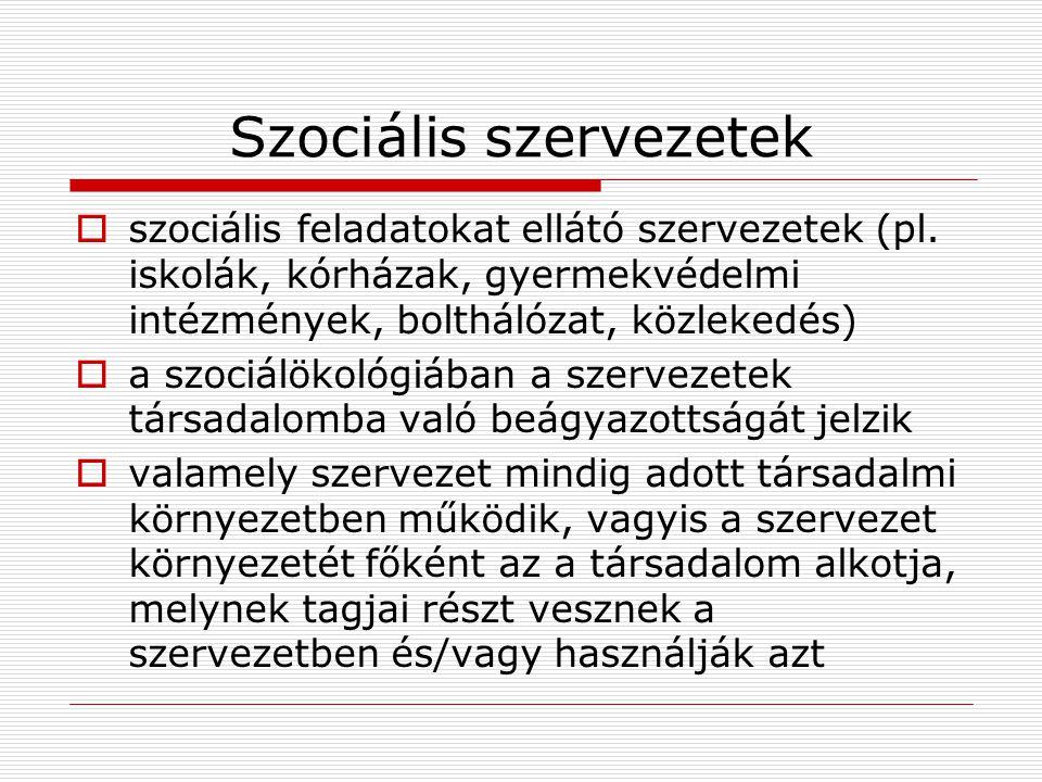 Szociális szervezetek  szociális feladatokat ellátó szervezetek (pl. iskolák, kórházak, gyermekvédelmi intézmények, bolthálózat, közlekedés)  a szoc