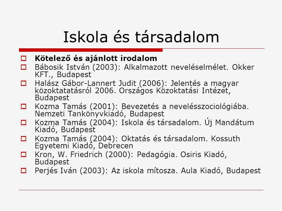 Iskola és társadalom  Kötelező és ajánlott irodalom  Bábosik István (2003): Alkalmazott neveléselmélet. Okker KFT., Budapest  Halász Gábor-Lannert