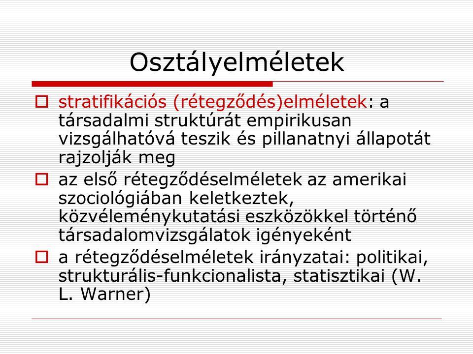 Osztályelméletek  stratifikációs (rétegződés)elméletek: a társadalmi struktúrát empirikusan vizsgálhatóvá teszik és pillanatnyi állapotát rajzolják m