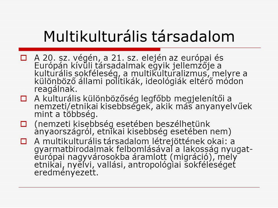 Multikulturális társadalom  A 20. sz. végén, a 21. sz. elején az európai és Európán kívüli társadalmak egyik jellemzője a kulturális sokféleség, a mu