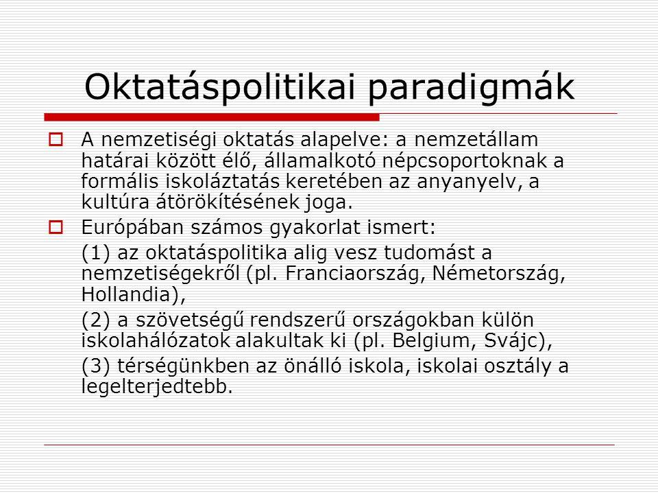 Oktatáspolitikai paradigmák  A nemzetiségi oktatás alapelve: a nemzetállam határai között élő, államalkotó népcsoportoknak a formális iskoláztatás ke
