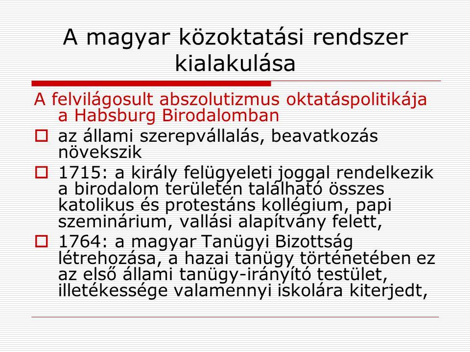 A magyar közoktatási rendszer kialakulása A felvilágosult abszolutizmus oktatáspolitikája a Habsburg Birodalomban  az állami szerepvállalás, beavatko