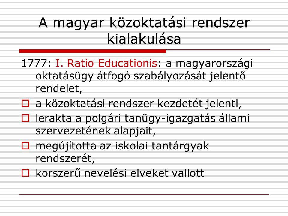 A magyar közoktatási rendszer kialakulása 1777: I. Ratio Educationis: a magyarországi oktatásügy átfogó szabályozását jelentő rendelet,  a közoktatás