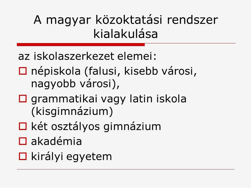 A magyar közoktatási rendszer kialakulása az iskolaszerkezet elemei:  népiskola (falusi, kisebb városi, nagyobb városi),  grammatikai vagy latin isk