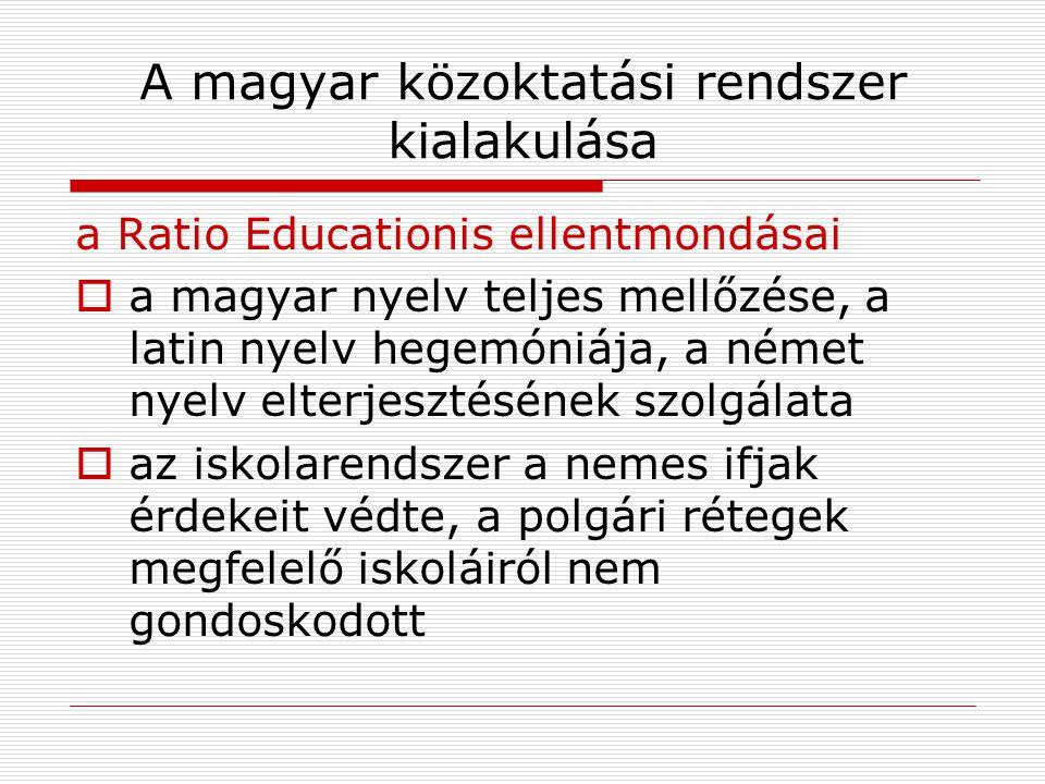 A magyar közoktatási rendszer kialakulása a Ratio Educationis ellentmondásai  a magyar nyelv teljes mellőzése, a latin nyelv hegemóniája, a német nye
