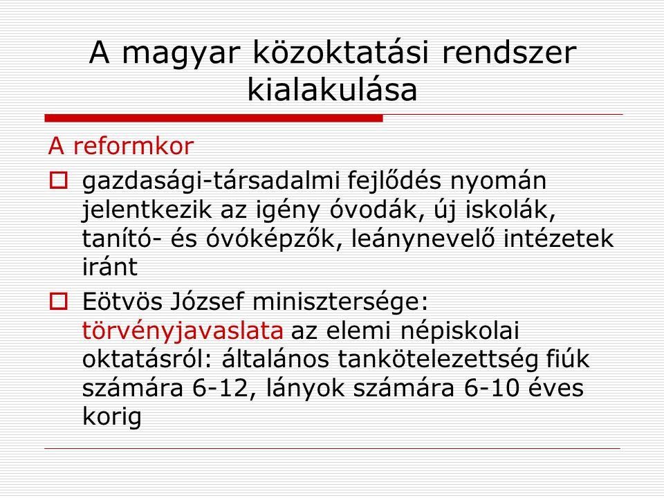 A magyar közoktatási rendszer kialakulása A reformkor  gazdasági-társadalmi fejlődés nyomán jelentkezik az igény óvodák, új iskolák, tanító- és óvóké
