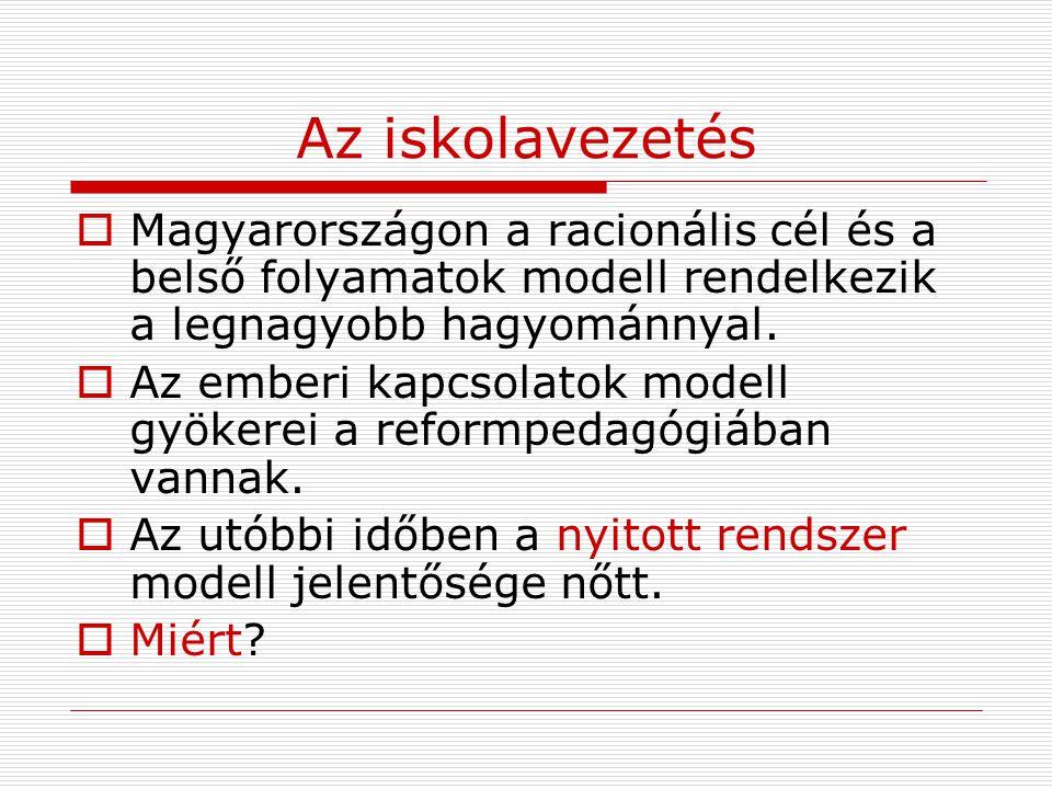 Az iskolavezetés  Magyarországon a racionális cél és a belső folyamatok modell rendelkezik a legnagyobb hagyománnyal.  Az emberi kapcsolatok modell