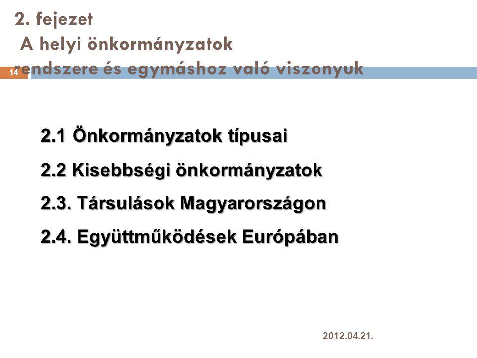 2. fejezet A helyi önkormányzatok rendszere és egymáshoz való viszonyuk 14 2.1 Önkormányzatok típusai 2.2 Kisebbségi önkormányzatok 2.3. Társulások Ma