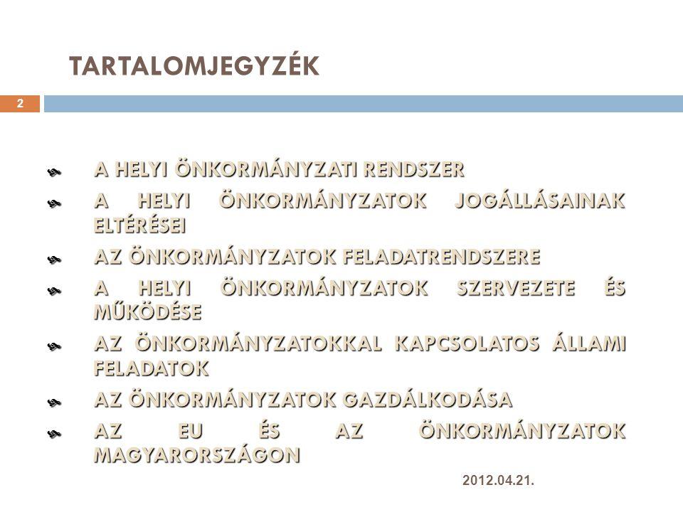 5.8 A közigazgatási hivatal feladatai 43  Szakmai segítség  Államigazgatási hatáskörök  Elsőfokú hatósági jogkörök  Másodfokú jogorvoslati fórum  Speciális feladatok  Területi koordináció és ellenőrzés  Választások, népszavazások informatikai támogatása  Területfejlesztési tanácsok törvényességi felügyelete  Területi dekoncentrált szervek tevékenységének koordinációja (RÁK)  Köztisztviselők képzése 2012.04.21.