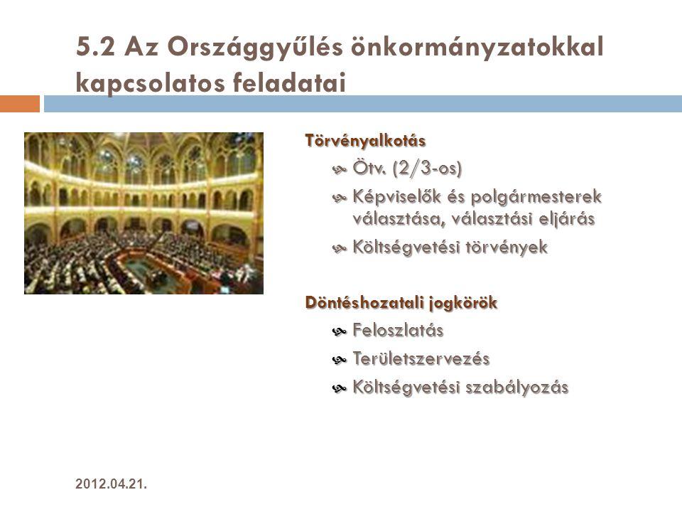 5.2 Az Országgyűlés önkormányzatokkal kapcsolatos feladatai Törvényalkotás  Ötv.