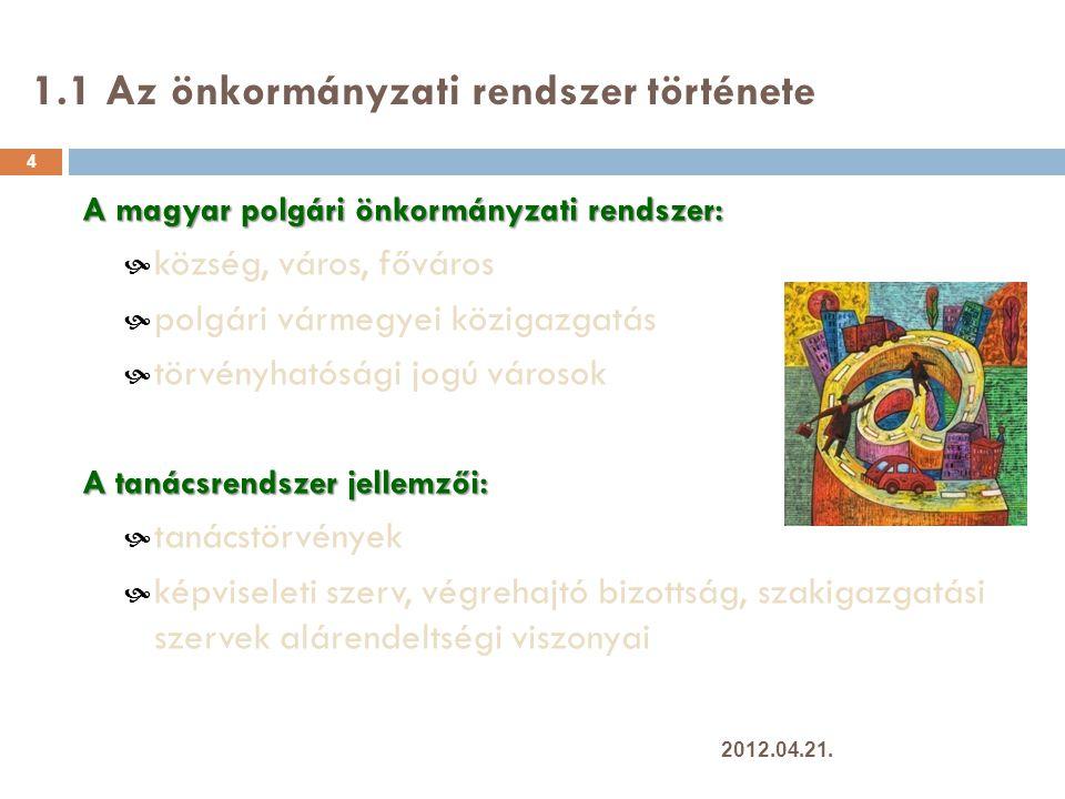 1.2 Európai önkormányzati rendszerek 5 Önállóság mértéke és hatáskörök szélessége szerint: Angolszász rendszer Kontinentális rendszer Skandináv FranciaVegyes 2012.04.21.