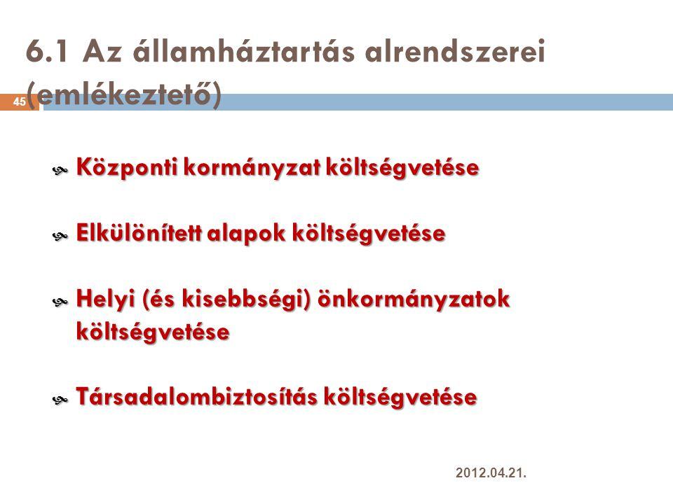 6.1 Az államháztartás alrendszerei (emlékeztető) 45  Központi kormányzat költségvetése  Elkülönített alapok költségvetése  Helyi (és kisebbségi) önkormányzatok költségvetése  Társadalombiztosítás költségvetése 2012.04.21.