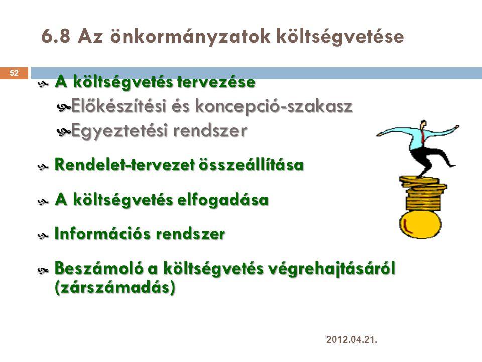 6.8 Az önkormányzatok költségvetése 52  A költségvetés tervezése  Előkészítési és koncepció-szakasz  Egyeztetési rendszer  Rendelet-tervezet összeállítása  A költségvetés elfogadása  Információs rendszer  Beszámoló a költségvetés végrehajtásáról (zárszámadás) 2012.04.21.