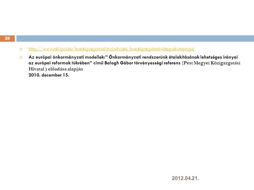  http://www.nki.gov.hu/koezigazgatasi-tudasbazis/koezigazgatasi-vizsgak-anyagai http://www.nki.gov.hu/koezigazgatasi-tudasbazis/koezigazgatasi-vizsgak-anyagai  Az európai önkormányzati modellek: Önkormányzati rendszerünk átalakításának lehetséges irányai az európai reformok tükrében című Balogh Gábor törvényességi referens ( Pest Megyei Közigazgatási Hivatal ) előadása alapján 2010.
