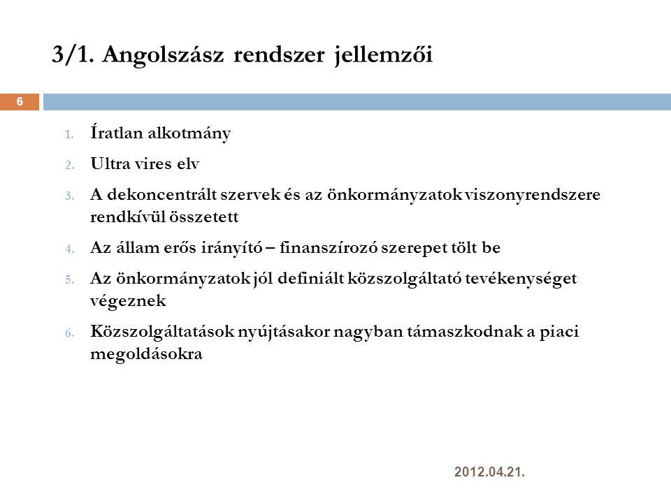 7.2 A szolgáltatások szabad áramlása a belső piaci irányelv tükrében 57  Eljárások egyszerűsítése  Egyablakos ügyintézési pontok  A letelepedés szabadsága  A határokon átnyúló szolgáltatások nyújtásának szabadsága  Hatóságok közötti együttműködés 2012.04.21.