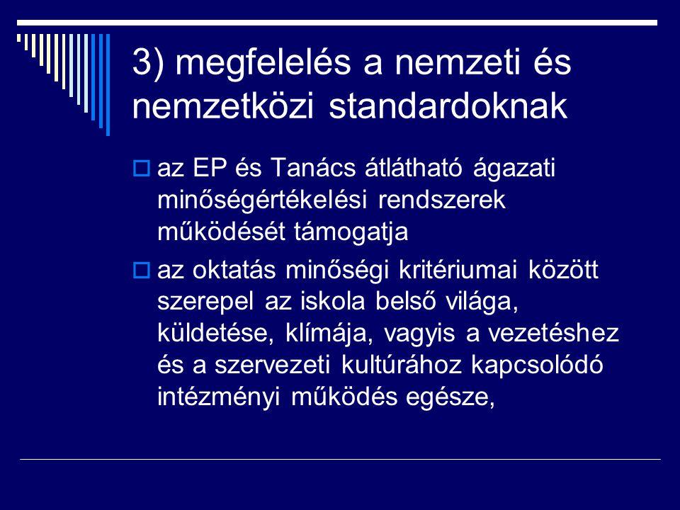 3) megfelelés a nemzeti és nemzetközi standardoknak  az EP és Tanács átlátható ágazati minőségértékelési rendszerek működését támogatja  az oktatás
