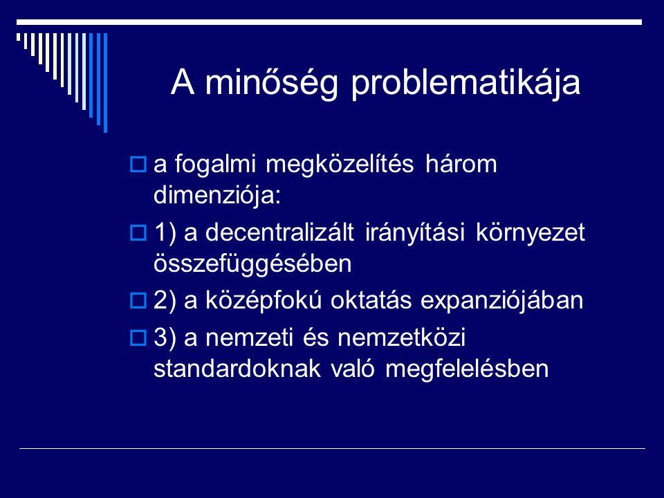 A minőség problematikája  a fogalmi megközelítés három dimenziója:  1) a decentralizált irányítási környezet összefüggésében  2) a középfokú oktatá