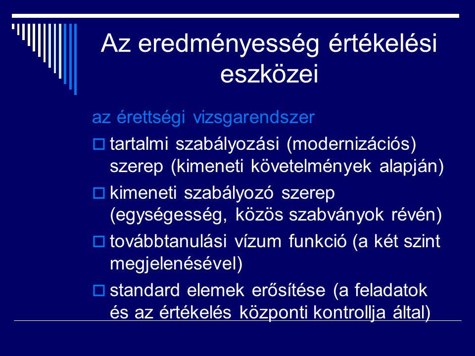 Az eredményesség értékelési eszközei az érettségi vizsgarendszer  tartalmi szabályozási (modernizációs) szerep (kimeneti követelmények alapján)  kim