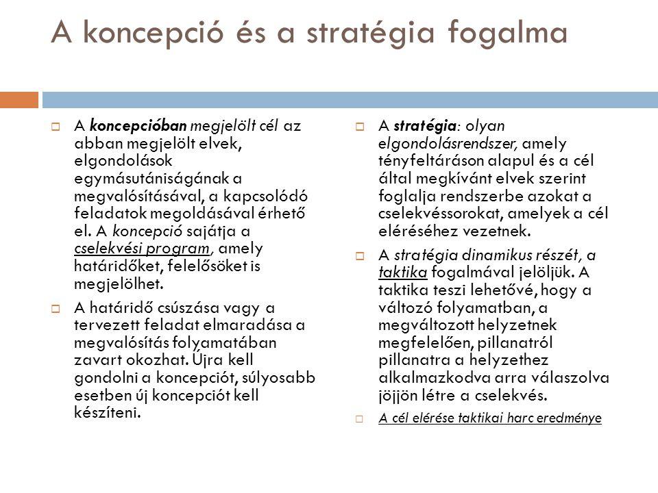 A koncepció és a stratégia fogalma  A koncepcióban megjelölt cél az abban megjelölt elvek, elgondolások egymásutániságának a megvalósításával, a kapc
