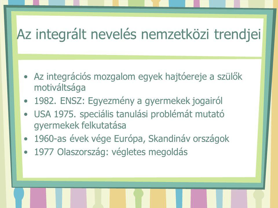 Az integrált nevelés nemzetközi trendjei Az integrációs mozgalom egyek hajtóereje a szülők motiváltsága 1982. ENSZ: Egyezmény a gyermekek jogairól USA