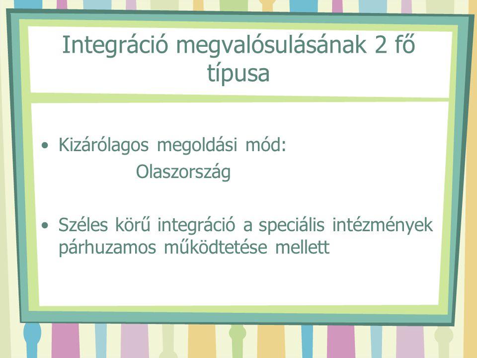 Integráció megvalósulásának 2 fő típusa Kizárólagos megoldási mód: Olaszország Széles körű integráció a speciális intézmények párhuzamos működtetése m