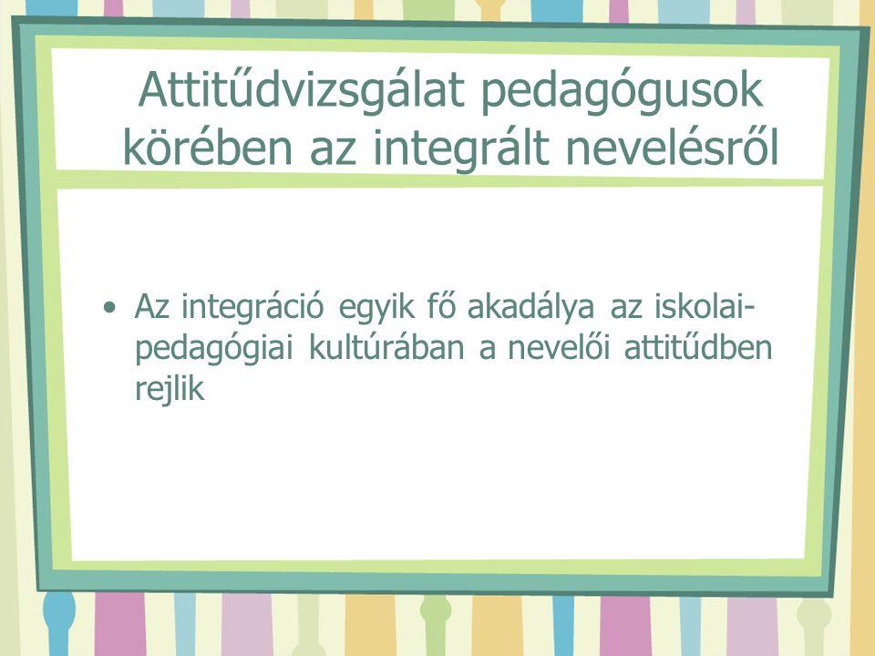 Attitűdvizsgálat pedagógusok körében az integrált nevelésről Az integráció egyik fő akadálya az iskolai- pedagógiai kultúrában a nevelői attitűdben re