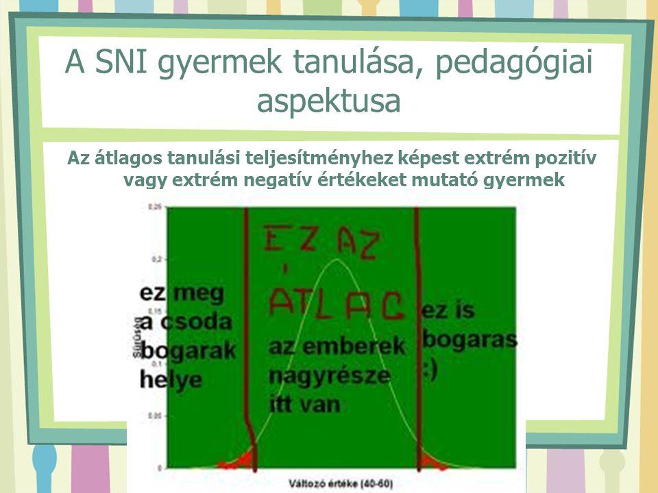 A SNI gyermek tanulása, pedagógiai aspektusa Az átlagos tanulási teljesítményhez képest extrém pozitív vagy extrém negatív értékeket mutató gyermek