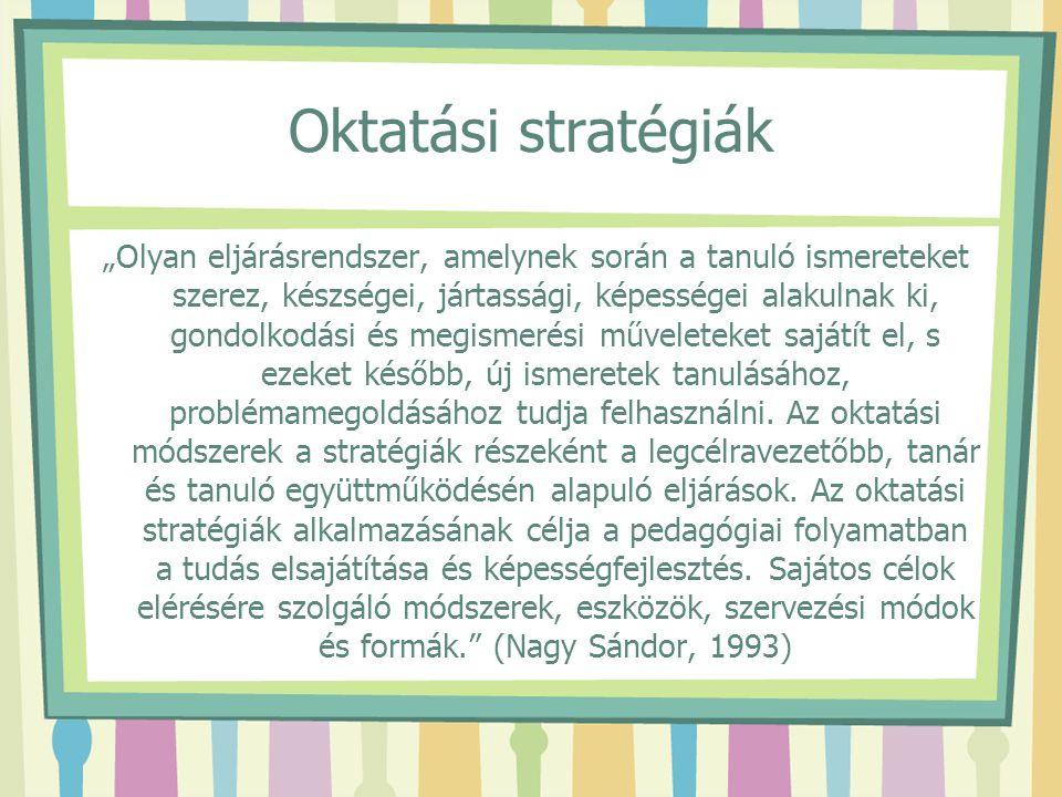 """Oktatási stratégiák """"Olyan eljárásrendszer, amelynek során a tanuló ismereteket szerez, készségei, jártassági, képességei alakulnak ki, gondolkodási é"""