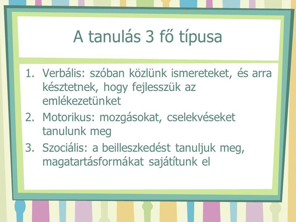 A tanulás 3 fő típusa 1.Verbális: szóban közlünk ismereteket, és arra késztetnek, hogy fejlesszük az emlékezetünket 2.Motorikus: mozgásokat, cselekvés