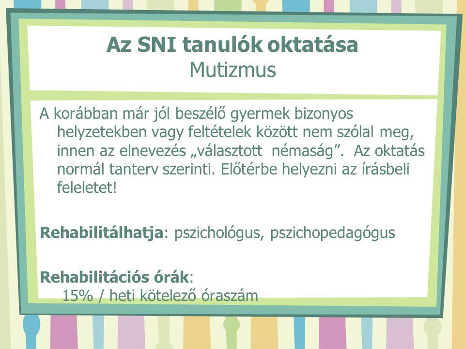 """Az SNI tanulók oktatása Mutizmus A korábban már jól beszélő gyermek bizonyos helyzetekben vagy feltételek között nem szólal meg, innen az elnevezés """"v"""