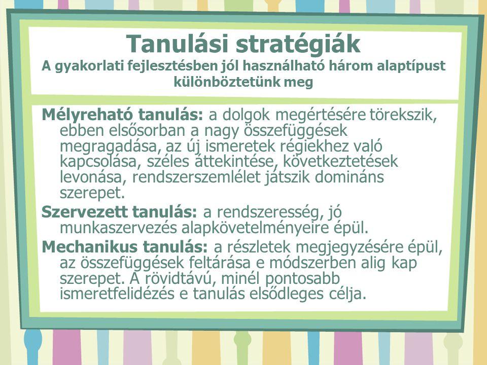 Tanulási stratégiák A gyakorlati fejlesztésben jól használható három alaptípust különböztetünk meg Mélyreható tanulás: a dolgok megértésére törekszik,
