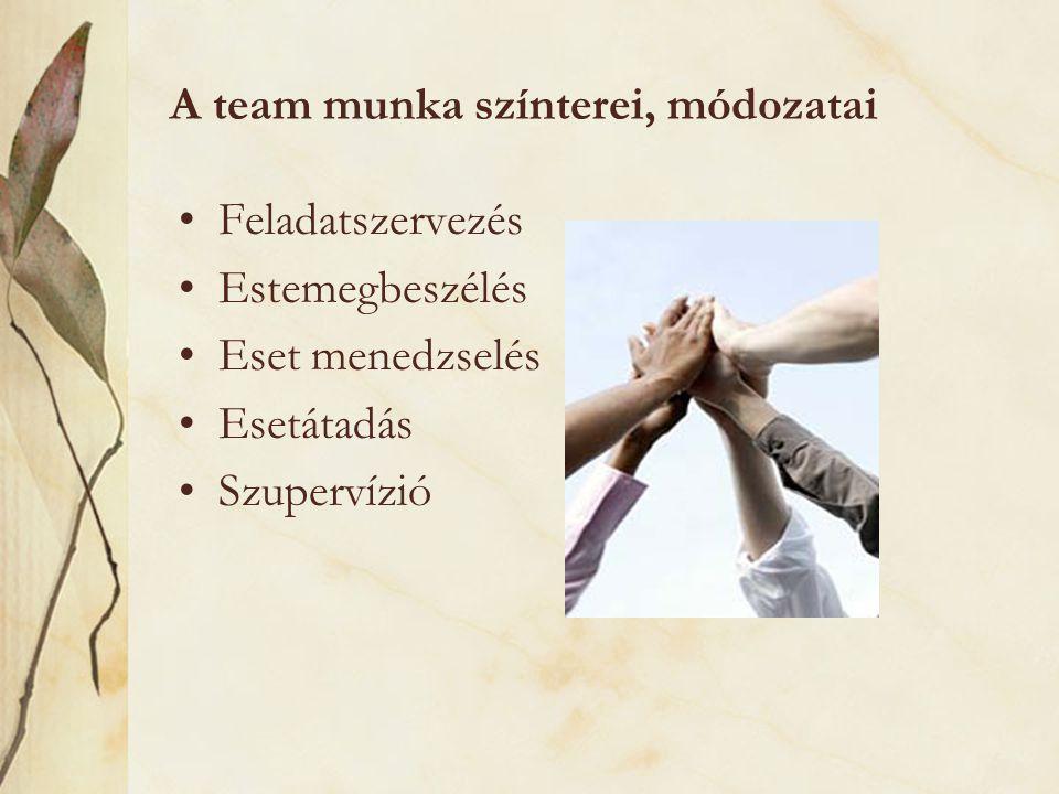 A team munka színterei, módozatai Feladatszervezés Estemegbeszélés Eset menedzselés Esetátadás Szupervízió