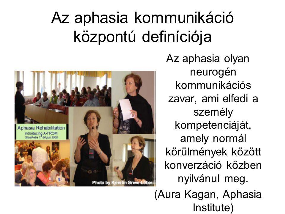 Az aphasia kommunikáció központú definíciója Az aphasia olyan neurogén kommunikációs zavar, ami elfedi a személy kompetenciáját, amely normál körülmén