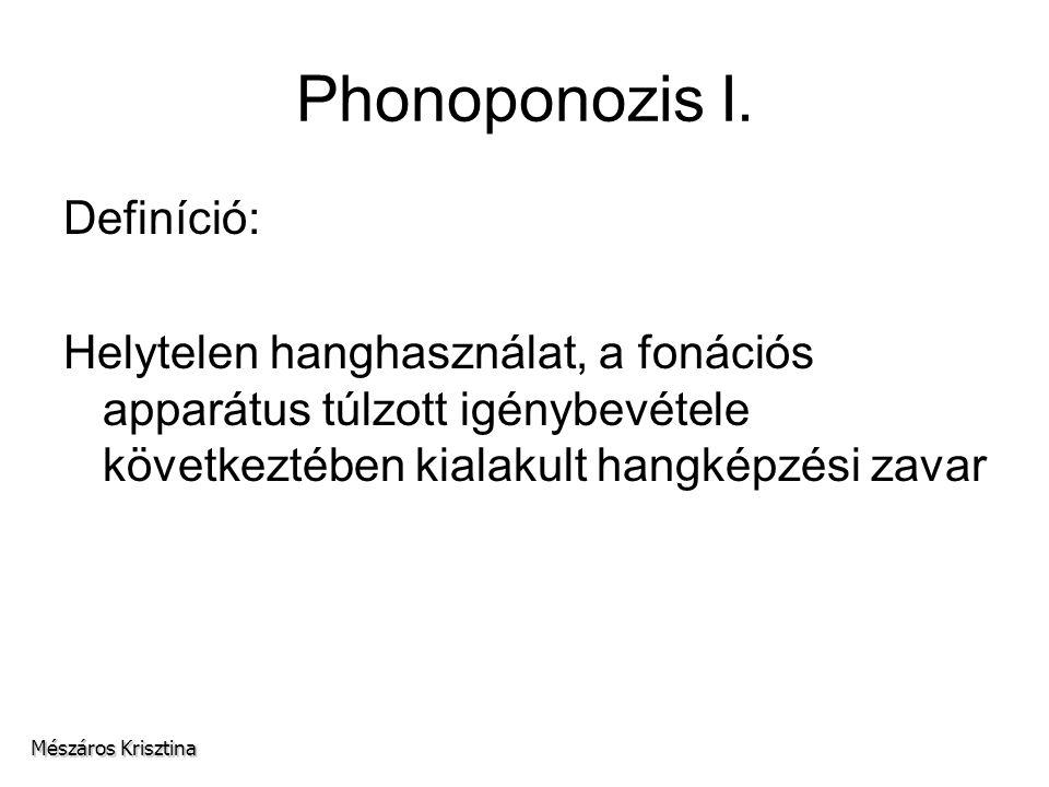 Phonoponozis I. Definíció: Helytelen hanghasználat, a fonációs apparátus túlzott igénybevétele következtében kialakult hangképzési zavar Mészáros Kris