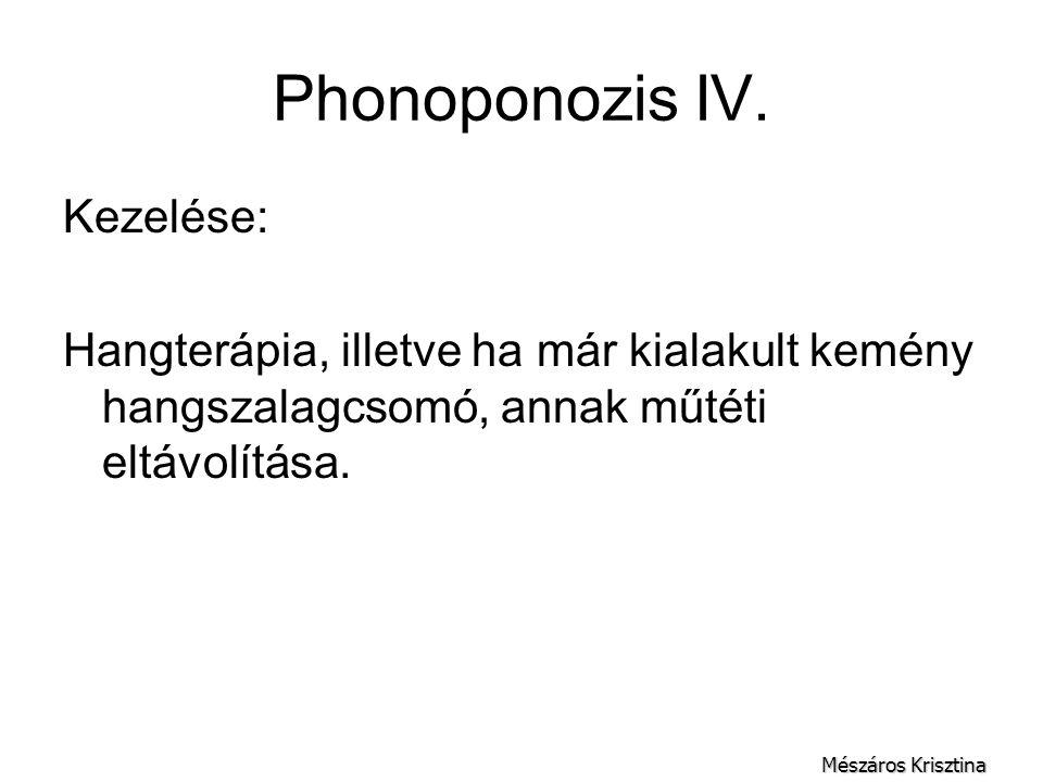 Phonoponozis IV. Kezelése: Hangterápia, illetve ha már kialakult kemény hangszalagcsomó, annak műtéti eltávolítása. Mészáros Krisztina