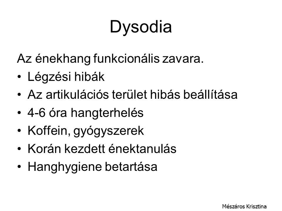 Dysodia Az énekhang funkcionális zavara. Légzési hibák Az artikulációs terület hibás beállítása 4-6 óra hangterhelés Koffein, gyógyszerek Korán kezdet