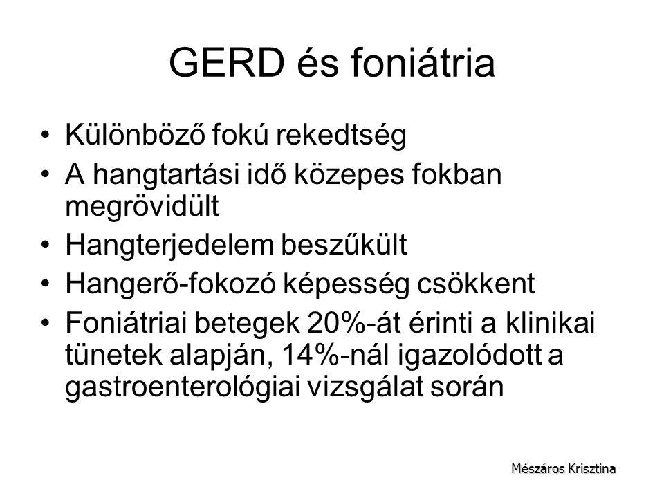 GERD és foniátria Különböző fokú rekedtség A hangtartási idő közepes fokban megrövidült Hangterjedelem beszűkült Hangerő-fokozó képesség csökkent Foni